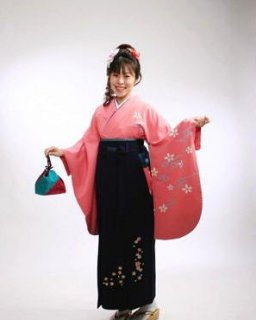 【レンタル】袴セット  20点フルセット 018-007 小振袖:ピンク流水桜×袴:紺桜刺繍