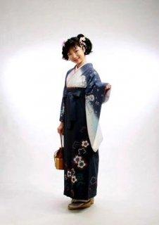 【レンタル】袴セット  20点フルセット 018-003 小振袖:グレー白花×袴:グレーカンサイ
