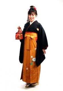 【レンタル】袴セット  20点フルセット 018-002 小振袖:黒花紋×袴:カラシカンサイ