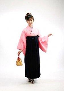 【レンタル】袴セット  20点フルセット 018-006 普通袖:ピンク無地×袴:紺無地