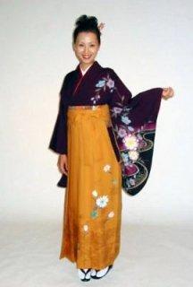 【レンタル】袴セット  20点フルセット  018-005  小振袖:紫桜×袴:カラシカンサイ
