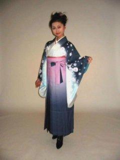 【レンタル】袴セット  20点フルセット 018-003 小振袖:グレー白花×袴:ピンクグレーぼかし