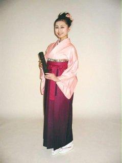 【レンタル】袴セット  20点フルセット 018-006 普通袖:ピンク無地×袴:紫ぼかし
