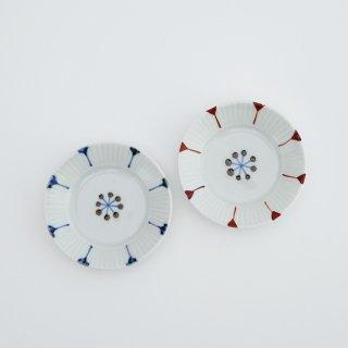 花弁紋 しのぎ皿(SS)(青・赤)