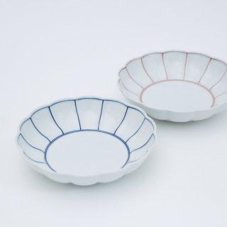 ふちどり 菊割平鉢(2色)