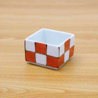 染錦赤市松正角陶箱(身深+蓋)