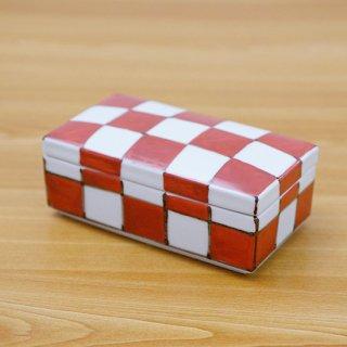 染錦赤市松長角陶箱