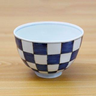染付市松麺鉢(大)