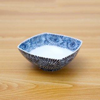 染付蛸唐草正角浅鉢