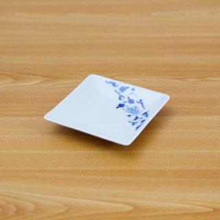 染付帯花唐草正角皿(小)