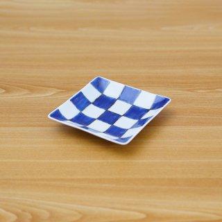 染付市松正角皿(小)