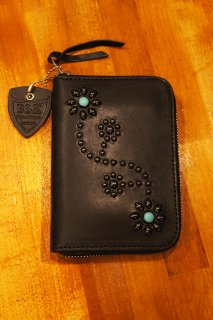 HTC BLACK #125 Turquoise Zipper Medium Wallet  (BLACK)