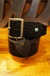 HTC BLACK #13SP Turquoise End Only Studs Belt (BLACK)