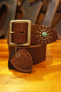 HTC BLACK #13SP Turquoise End Only Studs Belt (LIGHT BROWN)