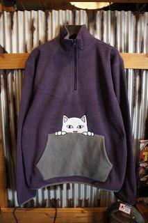 RIPNDIP Peek A Nermal Brushed Fleece 3/4 Zip Sweater (Purple / Gray)