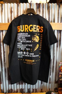 Cookman T-shirts 「Burgers menu」 (BLACK)