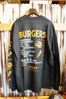 Cookman Long sleeve T-shirts 「Burgers Menu」 (BLACK)