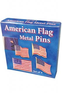 USA FLAG PINS 4PCS SET