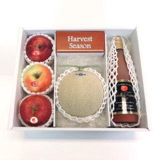 高級マスクメロン・りんご3種・高級トマトジュースの詰め合わせ 【送料無料】