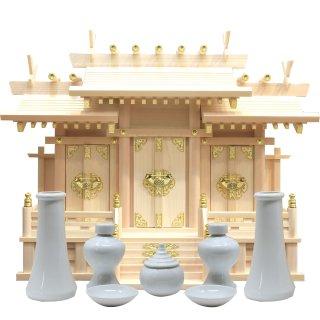 神棚 屋根違い三社 中 神具セット 雲シール付 日本製 国産檜 送料無料