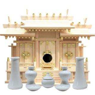 神棚 屋根違い三社 中 神具・神鏡セット 雲シール付 日本製 国産檜 送料無料