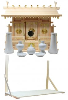 神棚 通し屋根三社 中 神具・神鏡・棚板セット 雲シール付 日本製 国産檜 送料無料