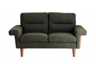 モスグリーンのコーデュロイ生地が安心感のある2Pソファ
