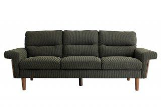 モスグリーンのコーデュロイ生地が安心感のある3Pソファ