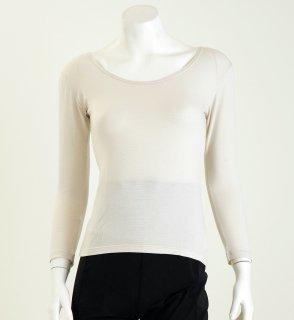【着るだけでかゆみに効果大!】女性のカサカサ肌・敏感肌のチクチクを抑えるラウンドネックシャツ【洗っても効果持続】【乾燥肌】【国産生地使用】