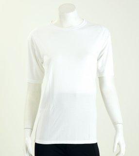 【着るだけでかゆみに効果大!】女性のデリケート肌におすすめのベーシック半袖シャツ(ナノミックス)【チクチクしない】【洗っても効果持続】【乾燥肌】【敏感肌】【国産生地使用】