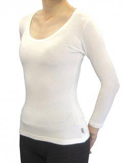 【着ているだけでツヤ肌持続】女性の肌の質感を高める七分丈ラウンドネックシャツ(コラーミックス)【吸水速乾】【消臭抗菌】【洗っても効果持続】【国産生地】