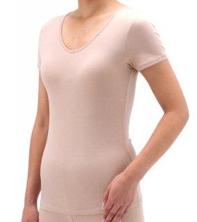 【着てもかゆくならないインナー】女性のデリケートな肌におすすめの半袖シャツ(ナノミックス)【代謝アップ】【ウイルス対策】【乾燥性敏感肌】【吸水速乾】【洗っても効果持続】【国産生地使用】