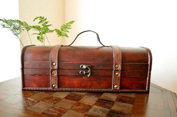 アンティーク調ウッドボックス(宝箱型 長型タイプ)