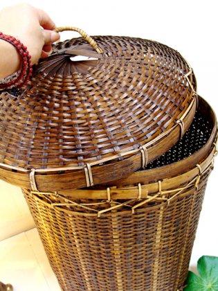 ロンボク島のバスケット(フタ付き)