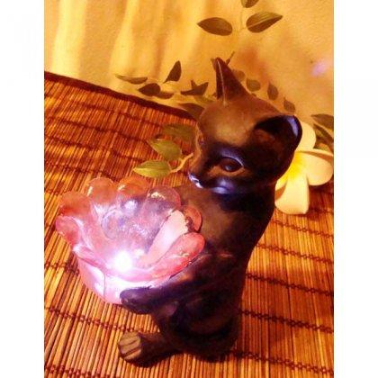 お花ライト持ちブロンズ調ネコ