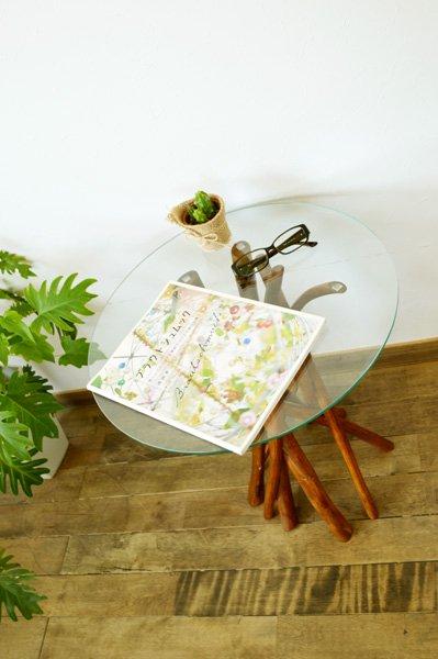 【7月上旬入荷予定】チーク ヴィオラ ガラステーブル (ナチュラルカラー)