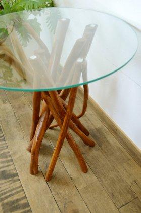 【7月下旬入荷予定】チーク ヴィオラ ガラステーブル (ナチュラルカラー)