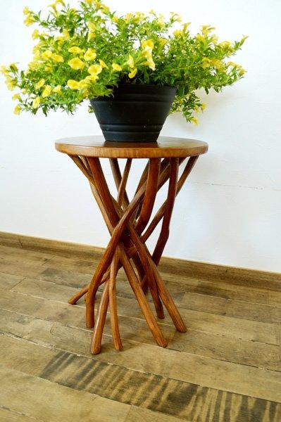 【7月上旬入荷予定】ARチークの根の花台サイドテーブル(ナチュラルカラー)