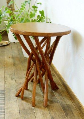 【8月中旬入荷予定】ARチークの根の花台サイドテーブル(ナチュラルカラー)