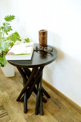 【8月中旬入荷予定】ARチークの根の花台サイドテーブル(ダークブラウンカラー)