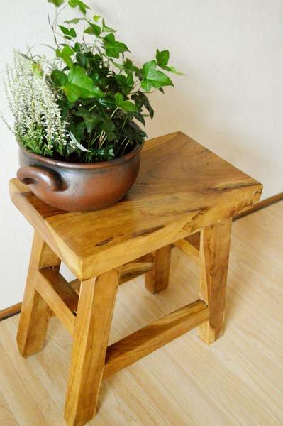 古木チークの一枚板ナチュラルベンチ(1人掛け)
