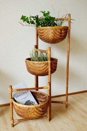 【9月下旬入荷予定】バリ島の3段バスケット(折りたたみ式)