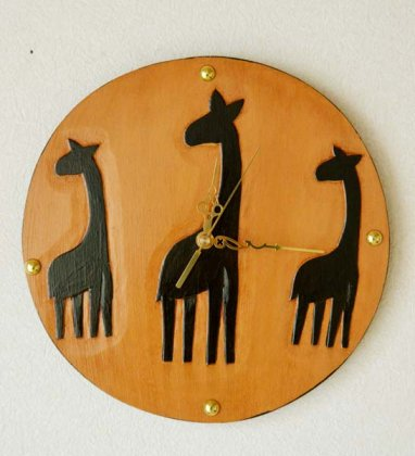 キリンの壁掛け時計(丸型)