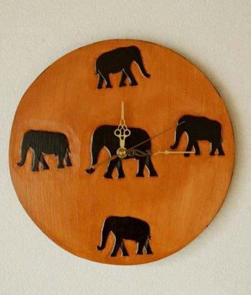 ゾウの壁掛け時計(丸型)