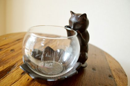 ブロンズ調 子猫のガラスポット