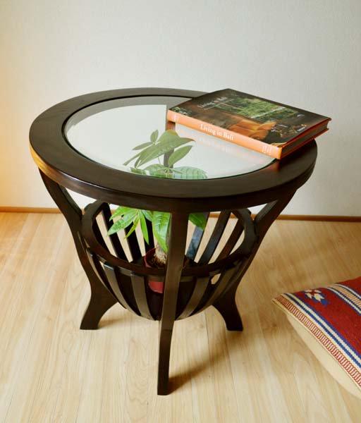 ラダーズラウンドガラステーブル(センターポット付)