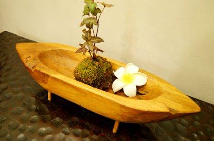 古木チーク材 ナチュラルトレイ(ボート型)