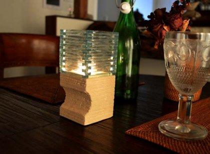 ガラスとストーンのキャンドルホルダー(キャンドル付き)スクエア