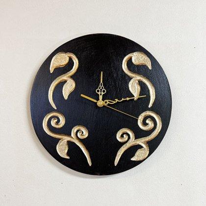 (9月下旬入荷予定)リーフ柄壁掛け時計