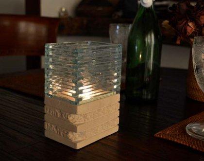 ガラスとストーンのキャンドルホルダー(キャンドル付き)長方形